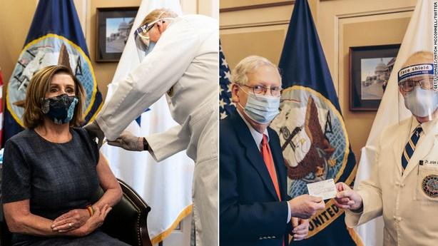 Nancy Pelosi and Mitch McConnel Receive COVID-19 Vaccines